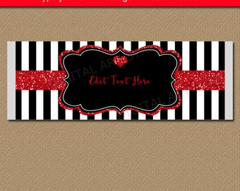 Wedding Party Favors, Bridal Shower Party Favors, Valentine Candy Bar Wrapper Template, Anniversary Idea, Black and White Party Printable B4