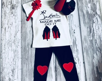 Red Sole Baby Toddler Tshirt, Heart Leggings and Matching Moccasin Pram Shoes - Diamanties, bling bows -Like Mummy's Louboutins Baby!