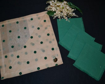 Tablecloth and Napkins 1940's Dotted Swiss Garden Green