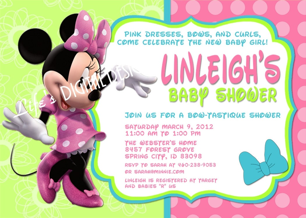 Minnie Mouse Bowtique Baby Shower Invitation Pink Teal