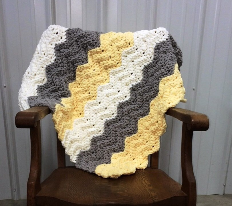 Crochet Pattern For A Quick Easy Crochet Baby Chevron Ripple