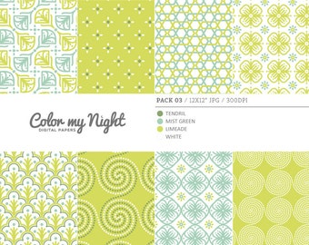 80% OFF SALE Digital Paper Green 'Pack03' Scrapbook Papers Digital Backgrounds for Scrapbooking, Invitations, Decoupage, Crafts...