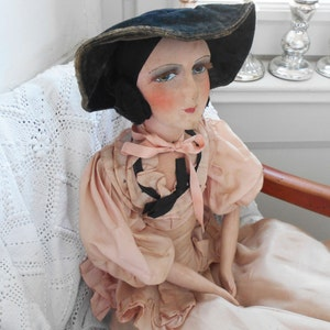 LAYAWAY for V! Don't buy! French Boudoir Doll Antique Hand Painted Doll