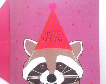 Raccoon Birthday Card - Raccoon with party hat happy birthday card