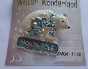 Vintage Signed KC Sparkling Polar Bear and Teddy Brooch/Pin   North Pole