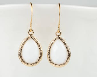White Gold Teardrop Earrings, White Gold Drop Earrings, White Earrings, Gold Earrings, Bridesmaid Earrings, Wedding Jewelry