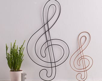 Wire Treble Clef, treble clef, Music gift, gift for mum, gift for musicians, Wall Art, Wall Hanging, Musical Note, wire gifts , Copper Home