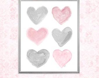 Nursery Wall Art, Pink and Gray Nursery, 8x10 Watercolor Print, Pink and Gray Decor, Pink and Gray Art, Watercolor, Pink and Gray Wall Decor