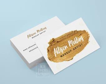 Gold paint business card makeup artist printable business card design lipsick business card beautician business card gold makeup cosmetician