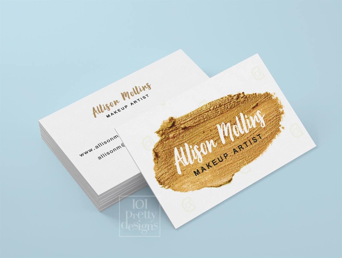 Gold paint business card makeup artist printable business card
