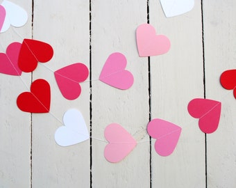 Pink Wedding GARLAND, pink ombre garland, love hearts, Pink heart garland, nursery wall hanging, red paper hearts, birthday party decoration
