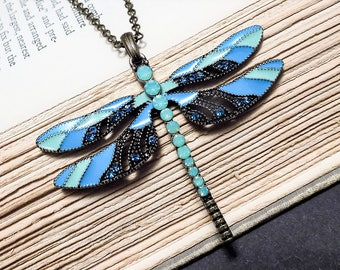 Green and Blue Enamel Dragonfly Pendant