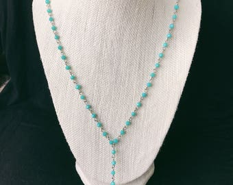 light blue and silver long lariat necklace