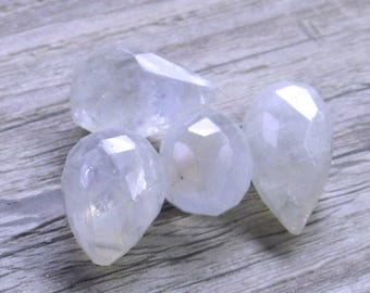 15 x 10mm Sparkling Snow White Micro Faceted Moonstone Teardrop Briolette AAA Beads- 2 Pieces