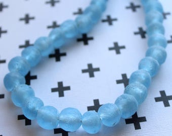 African Recycled Glass Beads from Ghana, Clear Light Blue - ARG-002