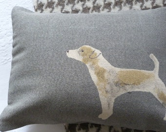 hand printed  muted blue grey and tan jack russell cushion