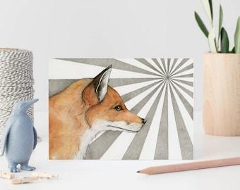 Fox card - greetings card - watercolour fox card - note card - blank greetings card -  red fox - sale