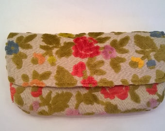 Handcrafted Colorful Floral Clutch  - Chenille Deep Pink, Golden Orange, Yellow, Green - OOAK Flocked Velvet Evening Bag, Clutch, Purse