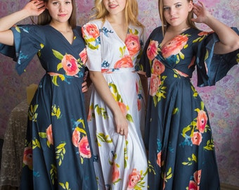 Blueberry Blue Dress Robes in Smiling Blooms Pattern in Premium Rayon