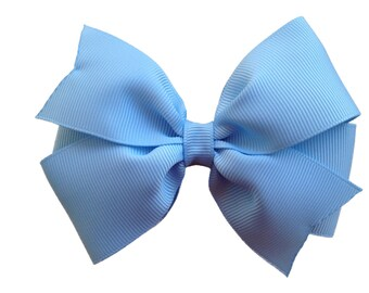 4 inch light blue hair bow - light blue bow, pinwheel bows, girls hair bows, blue hair bows, girls bows, toddler bows, hair bows, bows