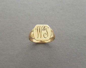 """CLOSING SALE // Antique Art Deco c. 1920 10K Gold Monogram / Initials """"Wj"""" """"Wt"""" Signet Ring"""