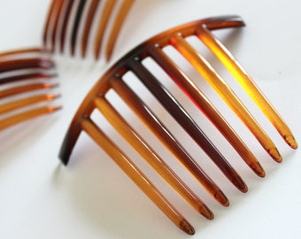 5pcs Brown Plastic Blank Hair Comb with 7 Teeth for Updo Hairstyles in Tortoise Shell