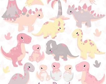 Cute Pink Dinos Clipart. Scrapbook baby girl dinosaur Clip Art Commercial Use. Trex, Triceratops, brontosaurus, stegosaurus graphics