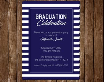 Personalized High School or College Graduation Invite 5x7 - navy & white stripes