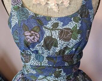 True Vintage 1950s Full Circle Skirt Dress Blue & Purple Roses Floral Swing Novelty Print