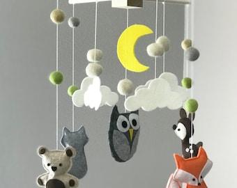 Crib Mobile Nursery, Baby Mobile Felt, Animal Nursery Decor, Forest Mobile, Mobile