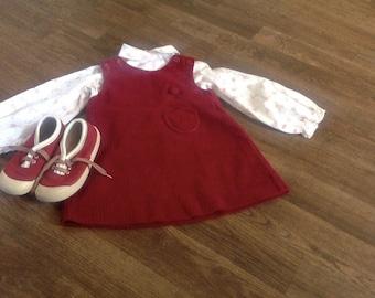 Vintage Red 70s Kids Corduroy Jumper Dress Set