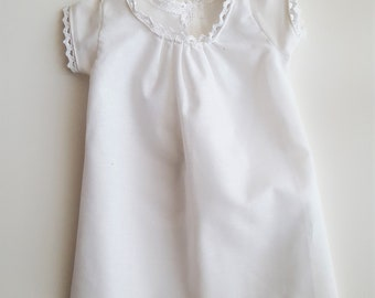 """White cotton chemise for 18"""" dolls such as American Girl, My Generation, etc."""