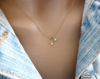Starfish necklace, Starfish jewelry, Beach wedding, Delicate necklace, Beach necklace, Bridesmaid necklace, Opal necklace