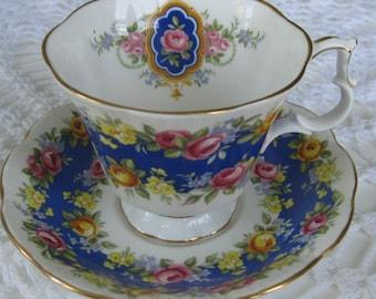 ENGLISH ROYAL ALBERT Bone China Cup and Saucer, Garland Series, Adoration