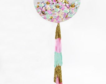 "Confetti Balloon, Giant Balloon with Tassel and Confetti Custom Colors, 36"" Confetti Balloon with Tassels"
