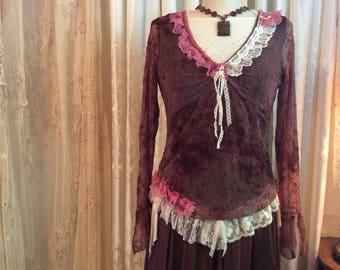 Gypsy Chic Top, asymmetrical hemline sleeves, brown bohemian top, boho gypsy top, MEDIUM