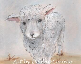 Lamb Print, Baby Sheep Wall Art, Nursery Animal Watercolor Print, Farmhouse Decor, Black Gray White Nursery Print, Farm Decor, 5x7 to 24x36