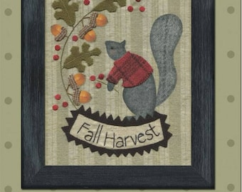 FALL HARVEST Hand Applique Embellishment Kit - Pre-Printed  Background Included!   By: Bonnie Sullivan - All Through The Night  #1729