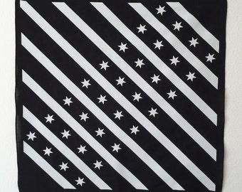 Black and White Chicago Flag Bandana