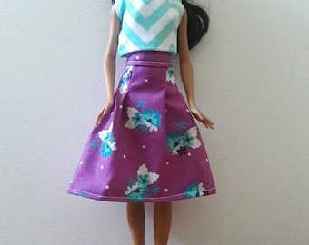 "Handmade 11.5"" Doll Clothes- Top & Skirt fits Barbie Dolls"