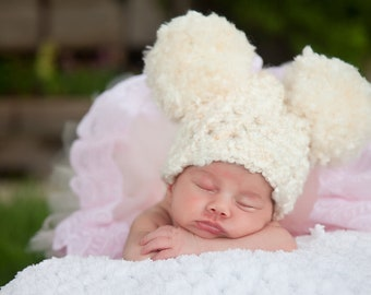 Ivory Cream Baby Hat 0 to 3 Month Baby Girl Hat Baby Boy Hat Chunky Crochet Pom Pom Hat Mouse Ear Animal Ear Hat Fun Photo Prop Adorable