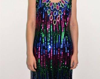 Vintage 80's ALYCE Designs Jewel Tone Sequin Rhinestone Cocktail Dress Size M