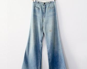 vintage 70s wide leg jeans by Happy Legs, 27 x 33