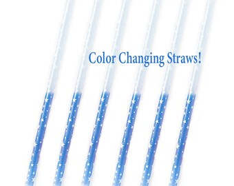 Color Changing Party Straws Blue Stars | Blue Gender Reveal Party 4th of July Party Straw Space Birthday Reusable Straw Star Straw Superhero