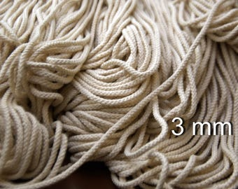 "Natural Cotton Macrame Cotton Cord Macrame Cord 3 mm (1/8"") Bulky Yarn Braided Cord for Natural cotton cord Macrame rope Cotton rope"