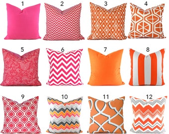 Pillow Covers ANY SIZE Pillow Cover Cushion Cover Orange Pillows Pink Pillow Zigzag Pillow Chevron Pillow Pink and Orange You Choose