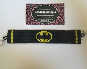 Handmade Batman beaded bracelet. Beaded cuff. Loom. Black and yellow.