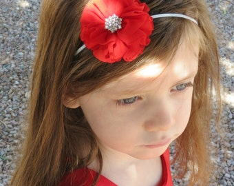 Flower Headband - Multiple Colors - Red Headband - Pink Headband -  White Headband - Cream Headband - Gray Headband - Infant Toddler Adult