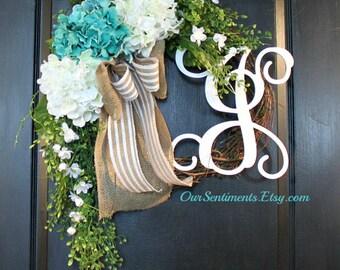 Hydrangea Door wreaths Summer door wreath for Summer wreaths for door - Wreaths Grapevine wreath