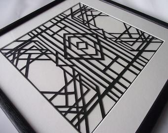 Framed Hand-cut Art Deco Style (2) Papercut